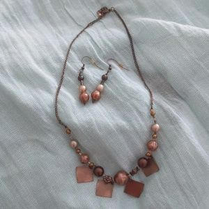 Jewelry - Faux rose gold necklace and earrings